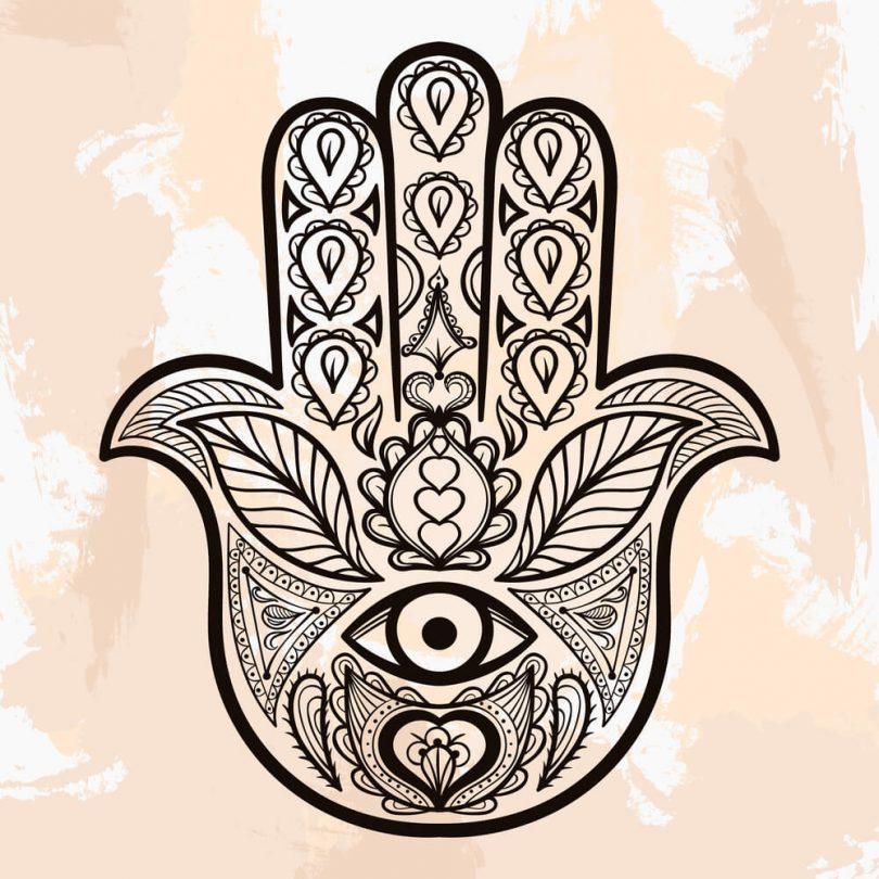Tatuagem Mão de Fátima bege